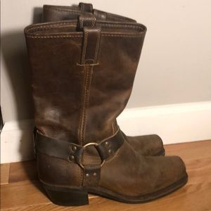 Frye Brown Leather Harness Boots 7.5